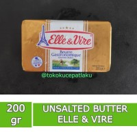 Butter Unsalted 200 gr Elle & Vire   Mentega Tawar