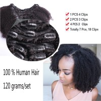 Afro Kinky Curly Clip In Human Hair Extensions 4A 4C Natural Black Mon