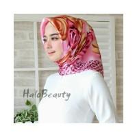 satin hijab Bunga Kerudung Jilbab Segi Empat Premium Square Motif L114