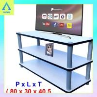 RS3-3080 ( Putih) Rak TV 3 Susun, Meja Rak TV Jumbo, Rak TV Murah,