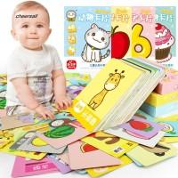 CS 48Pcs Set Cartoon Animal Fruit Pairing English Chinese Cards Baby