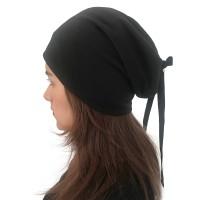 Women Summer Plain Color Turban Hat Casual Bow Skullcap Mych Glo
