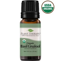 Plant Therapy Basil Linalool Organic Essential Oil 10 mL (1/3 oz) 100%