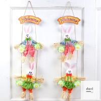 Easter Double Rabbit Scarecrows Ornament for Home Door Decoration