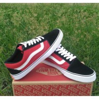 Sepatu Vans Old Skool Hitam Merah sepatu kasual sekolah