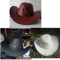 topi kulit koboy big size XL ukuran besar