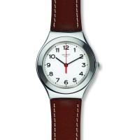 Jam Tangan Wanita Swatch Strictly Silver Brown Leather Strap YGS131