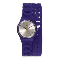 Jam Tangan Wanita Swatch Purpbell Silver Dial Purple Strap GV127