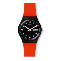 Jam Tangan Wanita Swatch Red Grin Black Dial Rubber Strap GB754