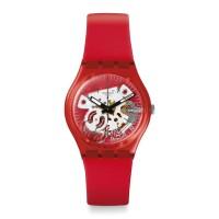 Jam Tangan Unisex Swatch Rosso Bianco Skeleton Dial Red Strap GR178