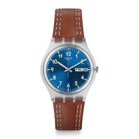 Jam Tangan Unisex Swatch Windy Dune Blue Dial Brown Leather GE709