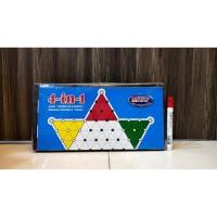 Mainan Board Games 4 in 1 - Papan Catur Ludo Ular Tangga Halma Plastik