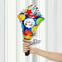 Balon Foil Happy Birthday Popper Popcorn Bintang / balon karakter kue