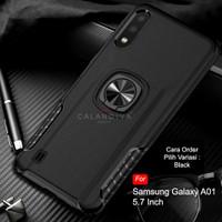 Calandiva Samsung A01 Hard Case Casing Ring Thunder Hybrid