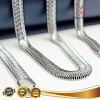 Kalung Titanium Asli Belut Ular Pipih Perak 70cm - VeE Kalung Pria Wan