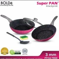 BOLDE SUPER PAN PANCI KUALI WAJAN SET BLACKPINK FRY PAN WOK GRANITE