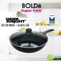 28CM BOLDE SUPER PAN+TUTUP KACA FRY WOK KERAMIK KUALI WAJAN PANCI