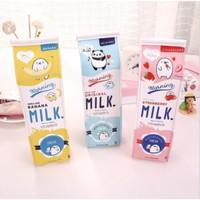 Tempat Pensil Kotak Pensil Bentuk Kotak Susu Milk Tempat Alat Tulis -