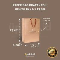 Custom Paper Bag Kraft + Foil - 16 x 6 x 23 cm