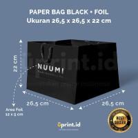Custom Paper Bag Black + Foil - 26.5 x 26.5 x 22 cm