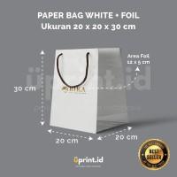 Custom Paper Bag Ivory + Foil - 20 x 20 x 30 cm