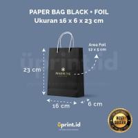 Custom Paper Bag Black + Foil - 16 x 6 x 23 cm