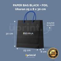 Custom Paper Bag Black + Foil - 25 x 8 x 30 cm