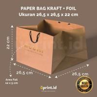 Custom Paper Bag Kraft + Foil - 26.5 x 26.5 x 22 cm