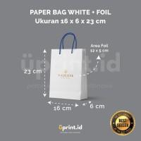 Custom Paper Bag Ivory + Foil - 16 x 6 x 23 cm