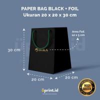 Custom Paper Bag Black + Foil - 20 x 20 x 30 cm
