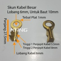 skun sekun terminal ring bulat kuningan lobang 6mm baut 10 kabel besar