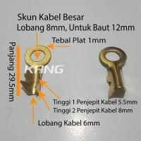 skun sekun terminal ring bulat kuningan lobang 8mm baut 12 kabel besar