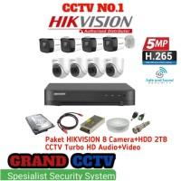Paket Cctv Hikvision 8 Camera 5MP+Hardisk 2TB Turbo HD Audio Camera
