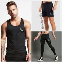 3++ Singlet VQ (+) Celana Sport (+) Legging - kaos gym running Pria
