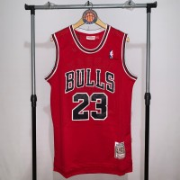 Jersey Basket Swingman NBA Chicago Bulls Michael Jordan Red merah 3