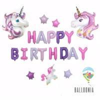 SET Balon Foil Happy Birthday Unicorn Head / Ulang Tahun