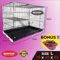 KANDANG BESI LIPAT TEBAL (75x45x55) Anjing Kucing Hewan Peliharaan