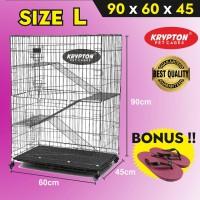 Kandang Kucing Tingkat 3 Size L 90x60x45 + RODA