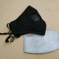 Masker PM 2.5 Single Valve 1 Katup Udara + 1 Pcs Filter PM 2.5 - Black
