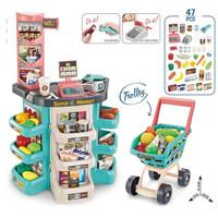Mainan Anak Home supermarket + Trolley Gen-2 Mainan Kasir Scanner Barc