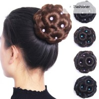Women Donut Hair Bun Clip In Extensions Synthetic High Temperature