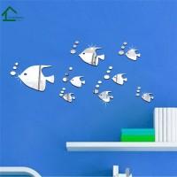 New 13Pcs Stiker Dinding Desain Ikan Silver Model Cermin untuk