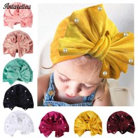 Hot Solid Pearl Bow Turban Baby Girl Hat
