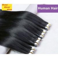 35/40/45CM Long Straight Hair Extensions Fake Hair Pieces ekstensi