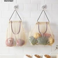 Multi-fungsi Dapur Dinding Gantung Tas Penyimpanan Buah Sayur Mesh