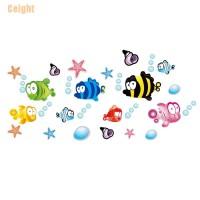 Stiker Dinding Desain Fish Starfish Bubble Untuk Kamar Anak