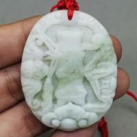 Kalung Liontin Batu Giok Putih Ukir Pohon Bambu Asli