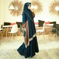 Gamis pesta Vanesa hitam baju muslim busui fit to xl murah al mc