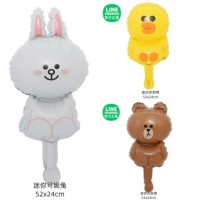 1 Set isi 3 Balon Foil Line Friends Cony, Brown, Sally Size Mini