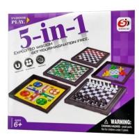 Mainan Anak Board Games Ular Tangga 5 in 1 Ludo Halma Catur